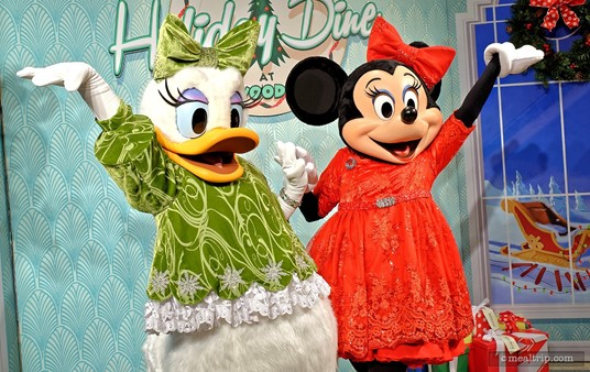Daisy and Minnie show off their holiday outfits at Hollywood and Vine's Holiday Dine event.