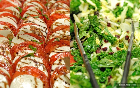 Insalata Caprese on the left and Winter Kale and Cabbage Salad with Pumpkin Seeds and Dried Craisins® on the right.