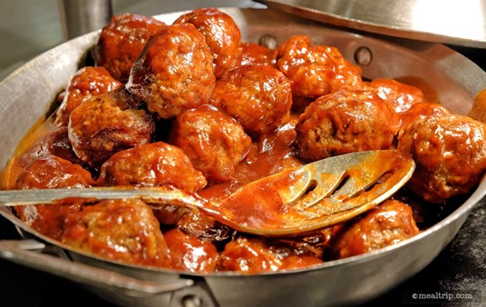 """The Barbecued Meatballs are not very """"holiday"""", but they are great meatballs, and have been a regular on the Hollywood and Vine menu for a while."""