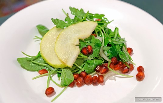 """Another salad that is making it's first appearance on the """"Holiday Dine"""" menu at Hollywood and Vine is the Pear and Pomegranate Salad with Shaved Fennel and Arugula. The Pomegranates are so very festive looking!!!"""