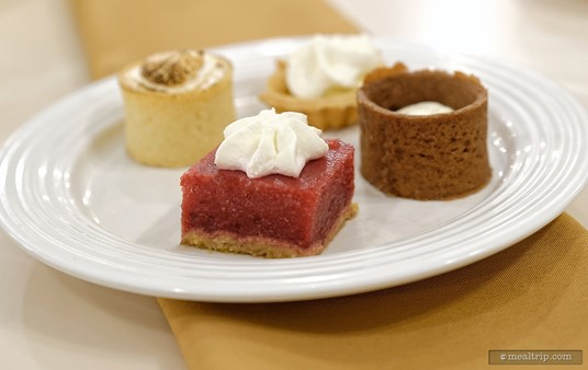 Here's a closer look at the No Sugar Added Raspberry Tart from the Crystal Palace dessert buffet line.