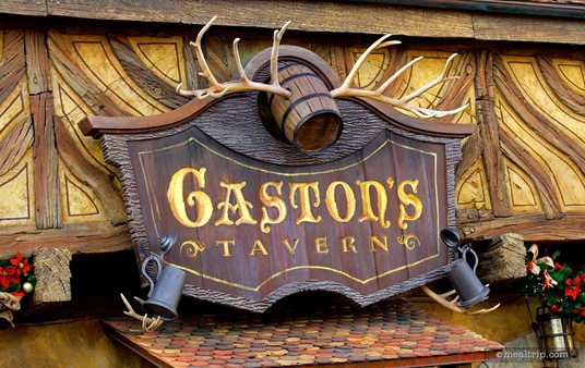 Sign over the front entrance of Gaston's Tavern.