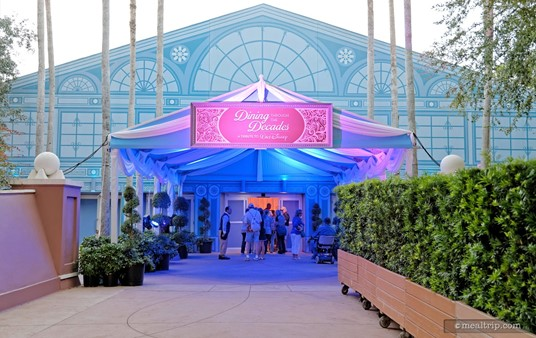 """The """"Dining Through The Decades - A Tribute to Walt Disney"""" special event was held in the WorldShowplace building as part of the 2014 Epcot Food and Wine Festival. This was the entrance on October 24, 2014."""
