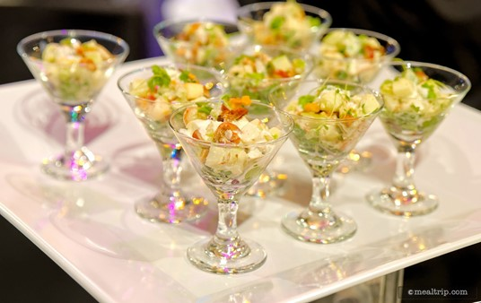 """Waldorf Salad in a Martini Glass with Micro Celery from the 1925-1936 : """"Family and a Mouse - Sunday Dinner Station""""."""