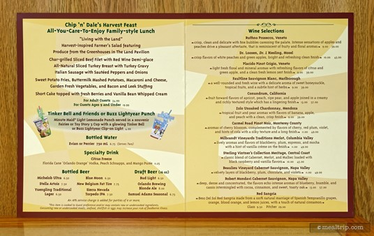 """Here's the """"menu"""" that's on the table. Garden Grill is family-style platter dining, so there's nothing to """"choose"""" per-say. 75% of the menu is dedicated to add-on drink options... including a descent sized wine list... for a character meal. (Photo circa 2017.)"""