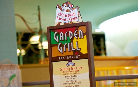 The menu board at the entrance of The Garden Grill Restaurant.