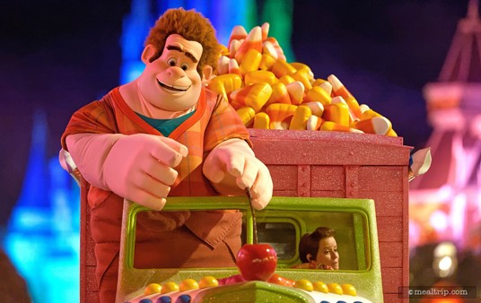 Wreck It Ralph and the bouncy candy corn car make their way down Main Street.