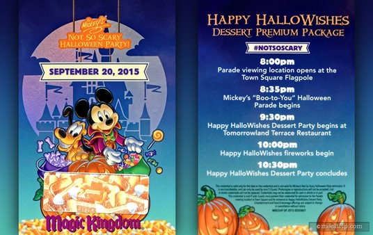 The HappyHallowishes credentials are printed on a thick laminated card and are attached to a lanyard. The back shows a schedule of the Premium Package events, and the front shows the date and has a group number printed in the candy corn area (which has been removed in this photo).