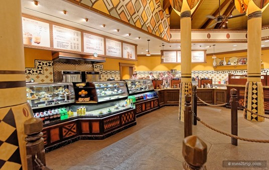 """Here's a closer look at the west side order area. There's actually quite a bit of room for looking at pastries and whatnot, before you get to the """"beverage order placing"""" area."""
