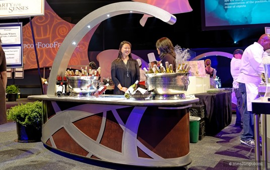 """Beverage stations are also set up throughout the event space. Mostly red and white wines are represented, but sparkling wines, beer, and """"hard"""" liqueur spirits are also available. Often, the people pouring the beverage are representatives of the brand, so if there's any questions, feel free to ask them."""
