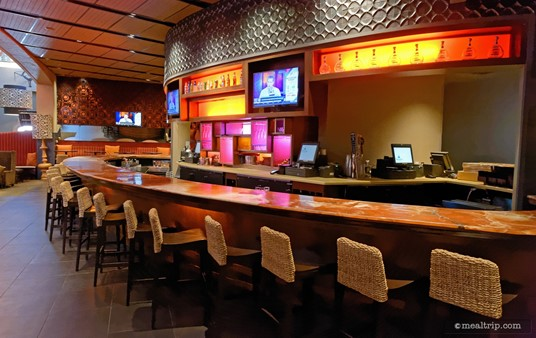 This is the main bar area at the Rix Lounge at Coronado Springs. There is additional seating available in smaller rooms to the right and in front of the main bar.