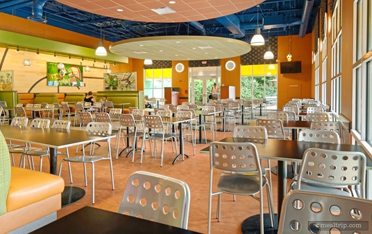 The back half of the seating area in the End Zone Food Court at Disney's All-Star Sports Resort.