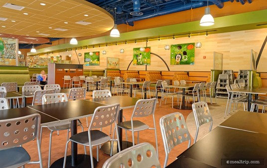 The main seating area in the End Zone Food Court at Disney's All-Star Sports Resort.