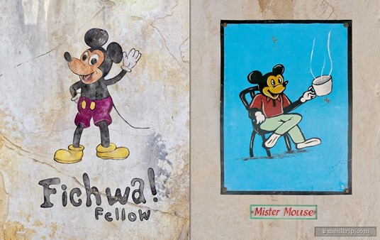 There are painting, stickers, posters and signs everywhere at the Harambe Market. Here, a popular mouse is featured.