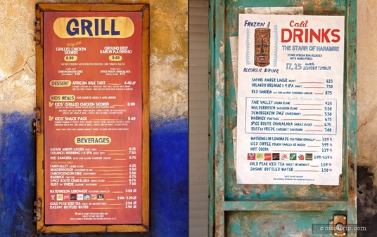 One of the kiosk (windows) at the Harambe Market only serves drinks (the menu board on the right).
