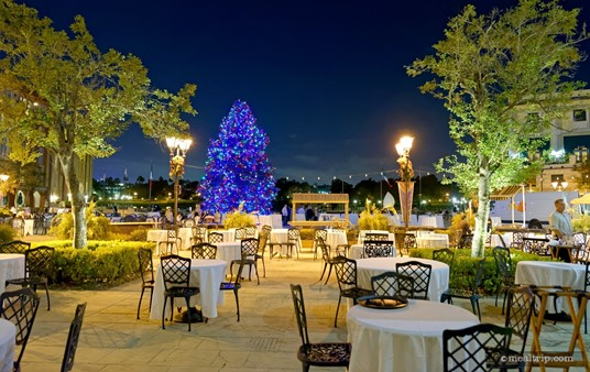 The VIP Seating area at Holiday Harbor Nights is quite large (and probably scalable). While there it may seem spacious without people, there are a few tables that we feel are too close together.