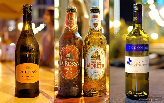 The beverage selections change at every Harbor Night's event. Pictured here is Ruffino's Prosecco, two beers from Moretti the LaRossa and their Lager, along with Ca'Donini's Montepulciano D'Abrozzo.