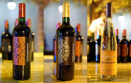 There are at least four reds and four whites along with a few sparkling wines at the Harbor Night's events. Pictured here are a Veramonte Red Blend, the Veramonte Carménère, and Snoqualmie's Select Riesling.