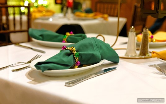 The table setting at Scat Cat's Cafe included napkins wrapped in Mardi Gras themed beads and bells. Yes, you could keep the small wrist-band sized beads after your meal was over! How cool is that?
