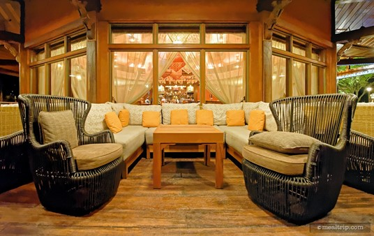 """This couch seems to be about in the """"center"""" of the outdoor seating area at the Nomad."""
