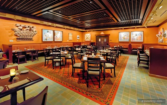 """This dining area at Tiffins has been named the """"Trek Gallery"""", and is said to contain inspirational artworks for the Anandapur section of Animal Kingdom."""