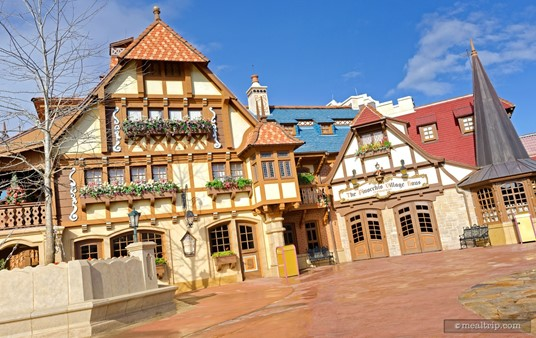 """There are many entrances into the Pinocchio Village Haus. This entrance on the south-east side of the building is closest to the """"place your order line""""."""