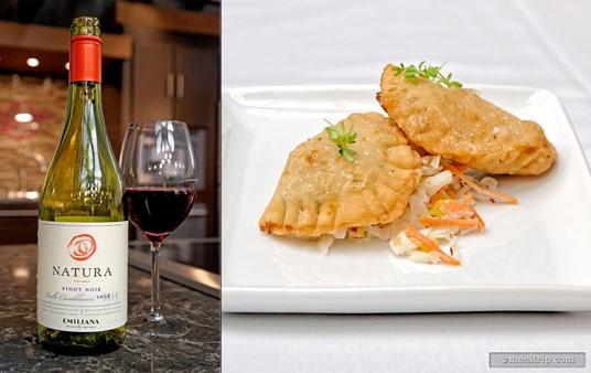 Chef Norman Van Aken's Pork Empanadas were served with Emiliana Winery's Natura Pinot Noir at a 2015 Culinary Demo.