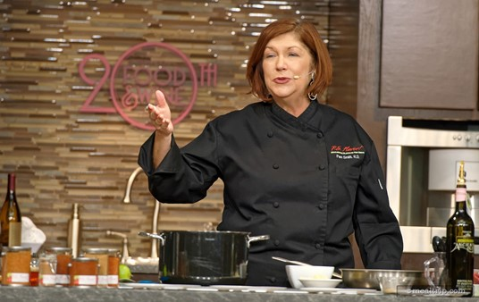 Festival Host Pam Smith gets to emcee a few of her own culinary demos during the Food and Wine Festival.