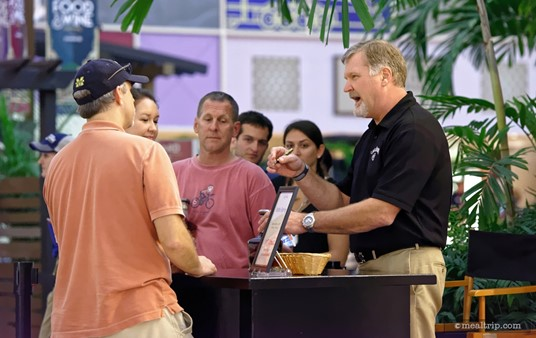 Sometimes, the presenters from the Beverage or Mixology Seminar will make themselves available for book and/or bottle signing after the demo. Pictured here, Jeff Arnett from Jack Daniels takes time to speak with guests.