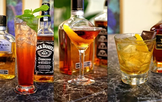 """Here is a photo of the three """"hero"""" beverages that were made by a professional mixologist as part of a 2015 Jack Daniels Mixology Seminar. (Your samples, will be 3-4 ounces in size). Pictured here are the """"Jack's Horse and Carriage (Whiskey Mule)"""", the """"Gentleman's Manhattan"""", and the """"Old is New Again (Olde-Fashioned)""""."""