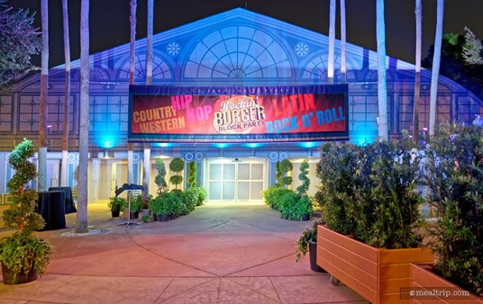 The Rockin' Burger Block Party takes place in the World ShowPlace Pavilion which is located on a walkway just past the Canadian Pavilion (but before the UK Pavilion) at Epcot.