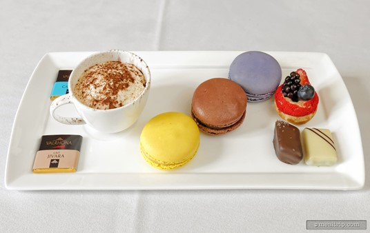 """The third course at """"The Parisian Afternoon"""" lunch was this """"Assortment de petits fours aux chocolates"""" featuring Valrhona chocolate products."""
