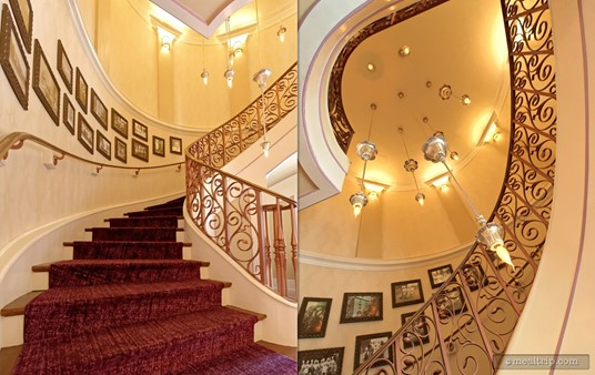 If you've ever wondered where this amazing looking staircase leads, it goes up to Monsieur Paul, a restaurant above the popular Chefs de France in Epcot.
