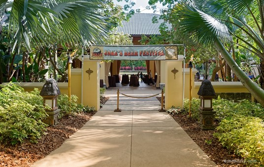 """The entrance to the Wantilan Pavilion at Loews Royal Pacific Resort at Universal Orlando is marked with a banner that reads """"Jake's Beer Festival""""."""