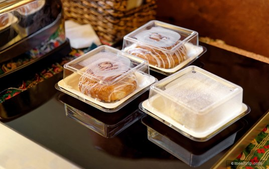 Some of the items on Sanaa's Breakfast grab-and-go menu are kept warm on these glossy looking keep-warm trays. I think what we're seeing here is a trio of danishes.