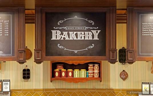 The interior Main Street Bakery Sign.
