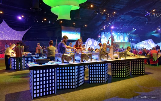 """One of the """"hot item"""" buffet lines at Epcot's New Year's Eve Dining period at World ShowPlace."""