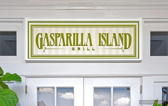 The entrance sign above Gasparilla Island Grill.