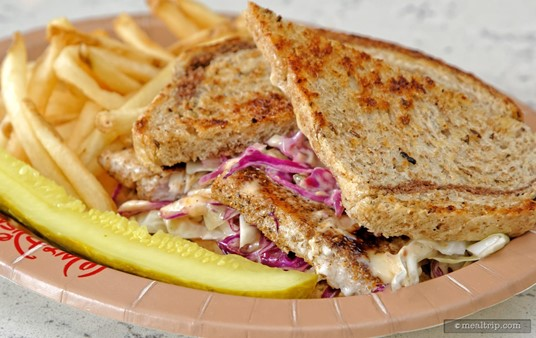 """The """"Cabbage Slaw"""" isn't what you would find on a traditional Reuben, it's a little sweeter, and more like coleslaw than anything. It provided a nice snap and texture to the mix."""