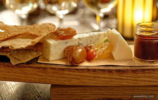 The various components of Artist Point's cheese board vary depending on the season and availability of the various cheeses.