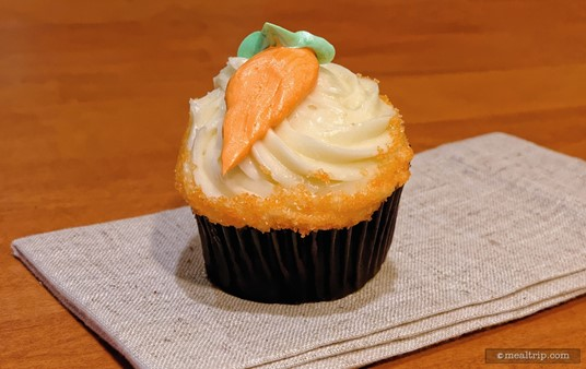 You can tell this is a Carrot Cake Cupcake, because well... there's an icing carrot on top naturally. (photo circa 2016, historical reference)