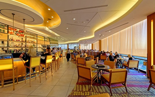 """The California Grill dining room as seen from the """"lounge"""" area, looking south."""