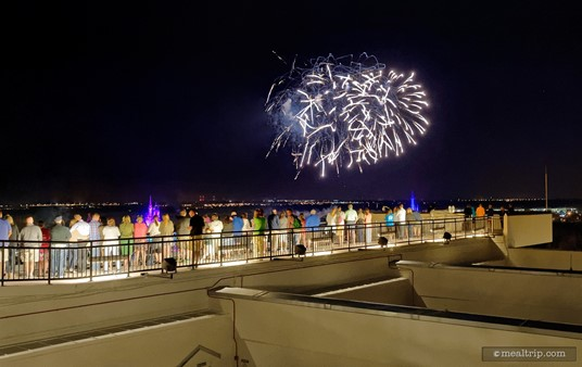 The observation deck at California Grill offers a very unique view of the fireworks over the Magic Kingdom.