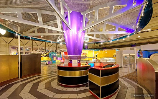 The check-in podium at Chef Mickey's Brunch, is actually quite cool looking.