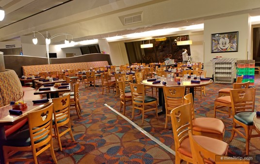 There are quite a few seating areas at Chef Mickey's. This large area is located in the south-east quadrant of the restaurant.