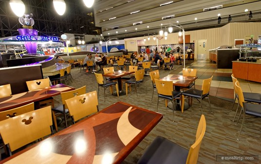 The main seating area at the Contempo Cafe is actually quite large, and offers great views of the monorails zipping by.