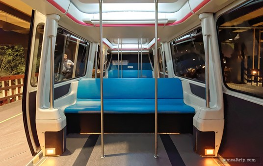 Each time our group of 25 guests got on a monorail, an entire compartment was being held in reserve. One compartment is actually two doors. While it is large enough to hold 25 people, some guests will have to stand.