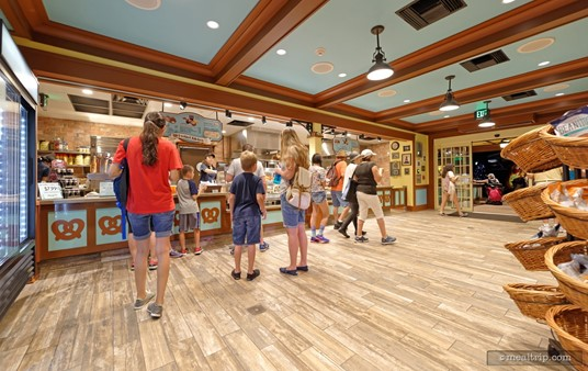 Walking into the front of Mama's Pretzel Kitchen, you will find some grab and go items (and beverages) in coolers on the left-side wall. The area itself is spacious, but can get crowded if a nearby show has just ended.