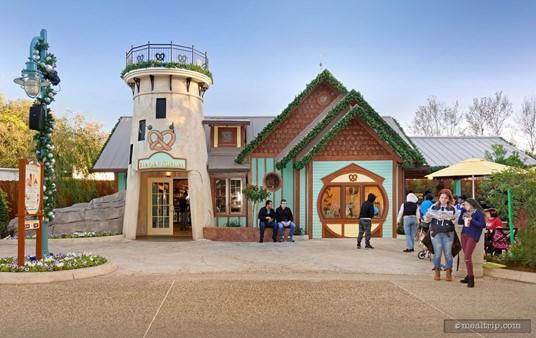 The very cute Mama's Pretzel Kitchen building at SeaWorld Orlando.