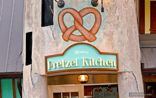 The Mama's Pretzel Kitchen sign above the main entrance door.